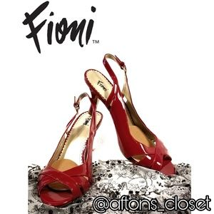 Fioni Red Patent Leatherette Sling-Back Heels
